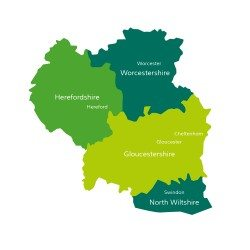 Property Finder UK Area Coverage Map, North Wiltshire, Gloucestershire, Herefordshire, Worcestershire