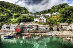 Clovelly, a fishing port in Devon, is shown.