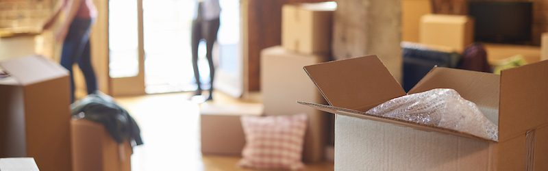 Carboard packing boxes sit on the wooden floor of a bright, modern home