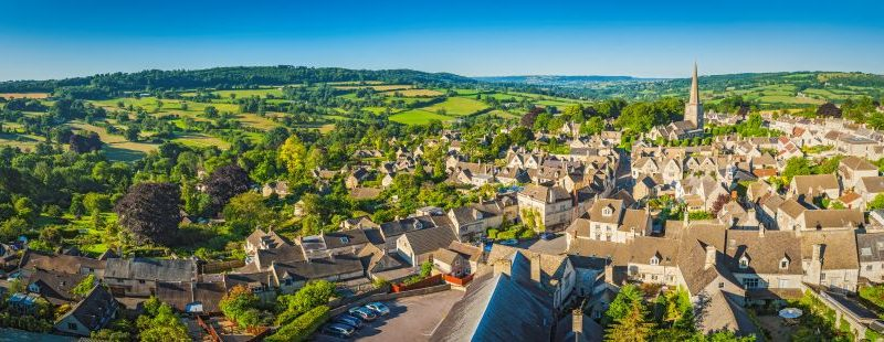 A panoramic of a village in the beautiful Cotswolds country side