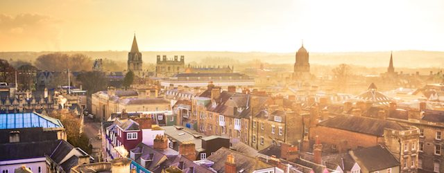 City of Oxford, as seen from Above at Sunset, United Kingdom