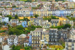 Panoramic view of houses in Devon.